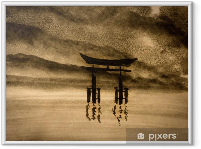 Ingelijste Poster Japanse poort in water - Hobby's en Vrije tijd