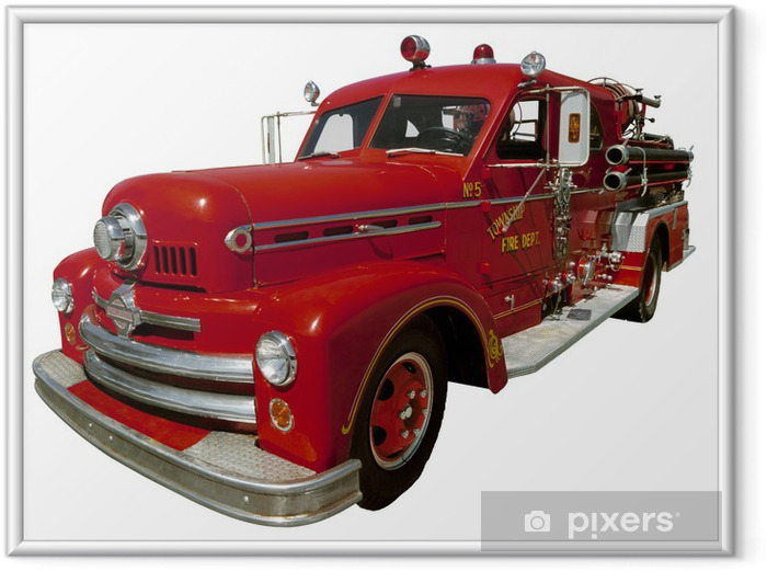Poster en cadre Vieux camion de pompier - Vie