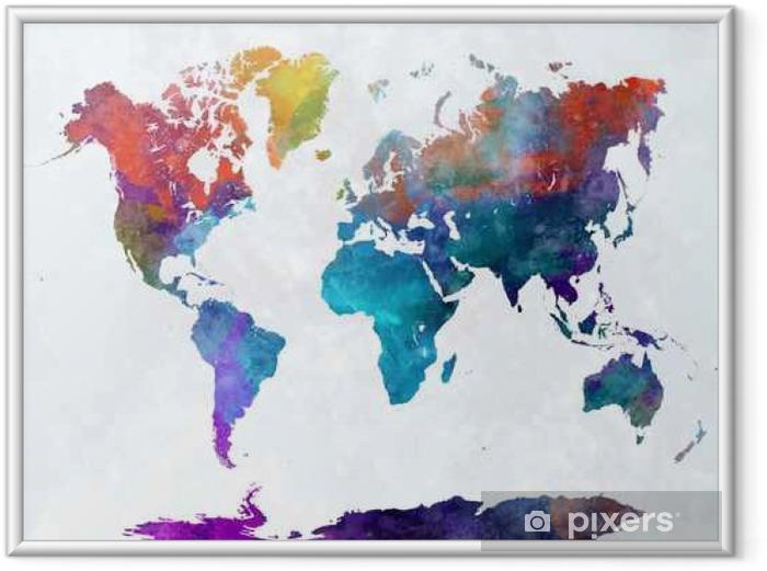Poster en cadre Carte du monde dans l'aquarelle - Voyages