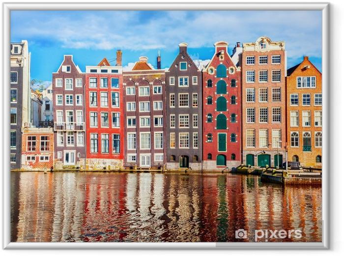Huse i Amsterdam Indrammet plakat - Rejse