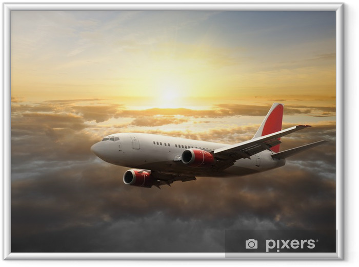 Poster en cadre Gros avion au coucher du soleil - Thèmes