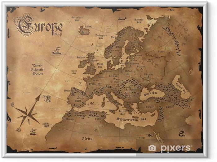 Poster i Ram Vintage Europa karta horisontal - Teman