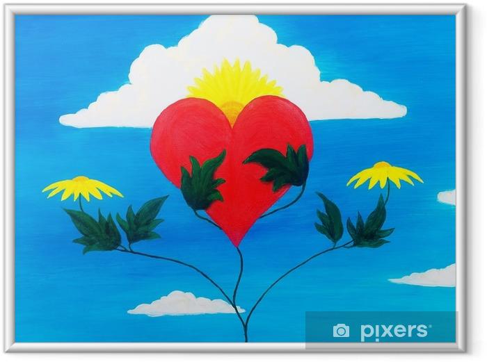 Ingelijste Poster Helende kracht van de natuur die haar hart voedt en herstelt met haar krachten. - Bloemen en Planten