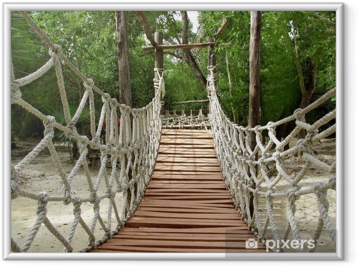 Poster i Ram Äventyr trä repet djungel hängbro - Teman