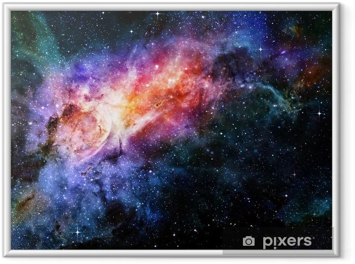 Stjerneklar dyb ydre rum nebula og galakse Indrammet plakat -