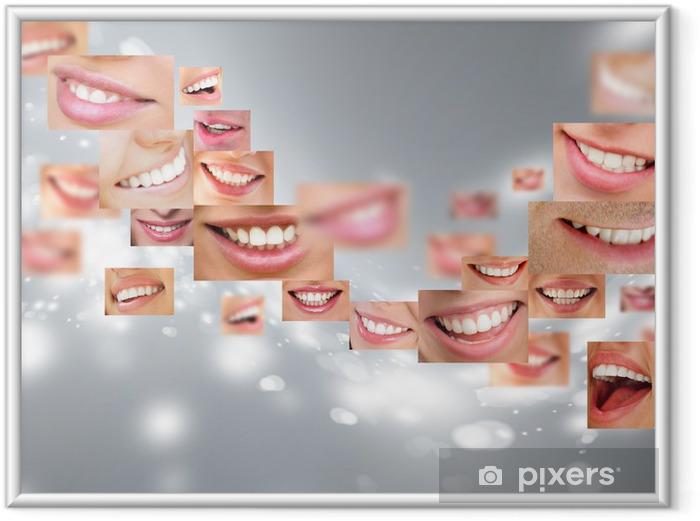 Poster i Ram Ansikten av leende människor i set. Friska tänder. Le - Teman