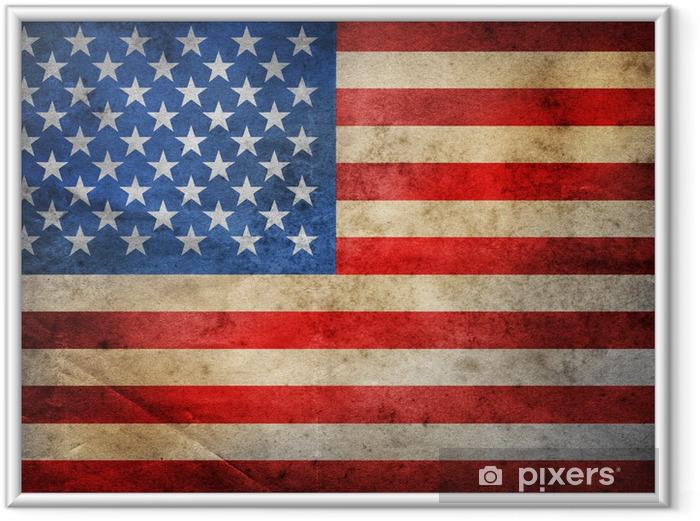 Poster i Ram Grunge USA sjunker - Nationsflaggor
