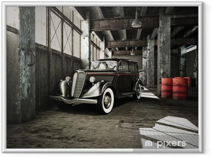 Ingelijste Poster Oldtimer in een oude fabriekshal - Onderweg