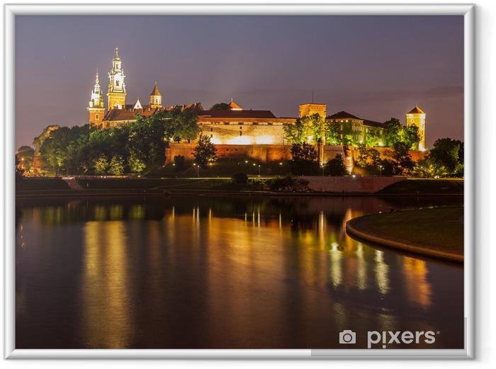 Ingelijste Poster Wawel kasteel en de Vistula rivier bij nacht - Thema's