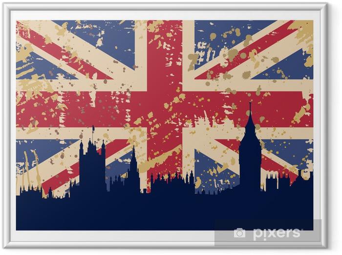 Ingelijste Poster Grote Vlag en Londen Groot-Brittannië -