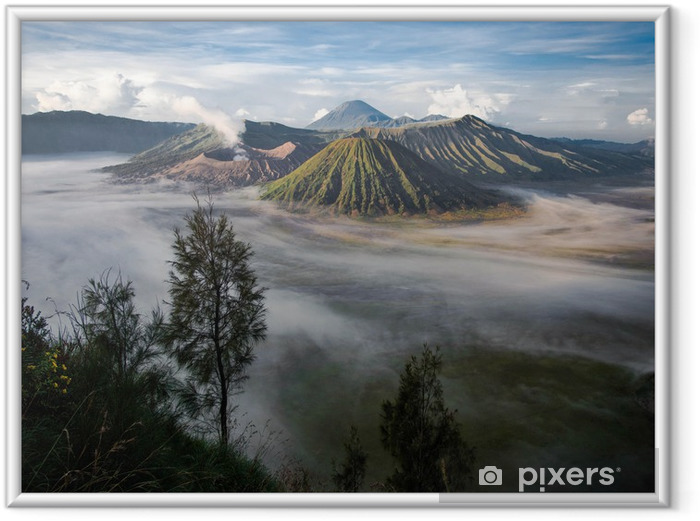 Plakat w ramie Gunung Bromo, Mount Batok i Gunung Semeru w Java, Indonezja - Azja
