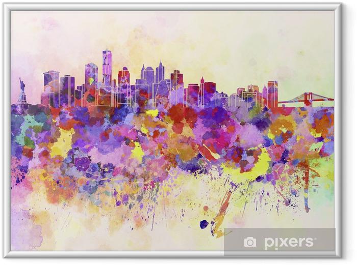 Plakat w ramie Panoramę Nowego Jorku w tle akwarela - Style