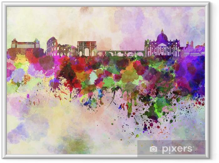 Ingelijste Poster Rome skyline in aquarel achtergrond - Thema's