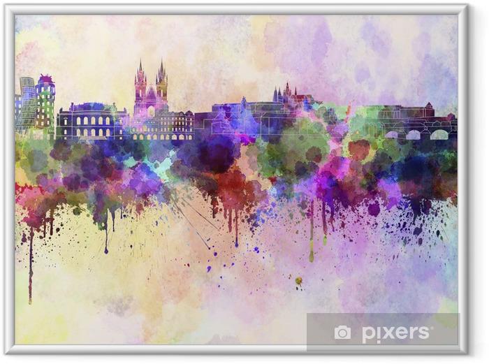 Çerçeveli Poster Sulu boya arka Prague silueti - Prag