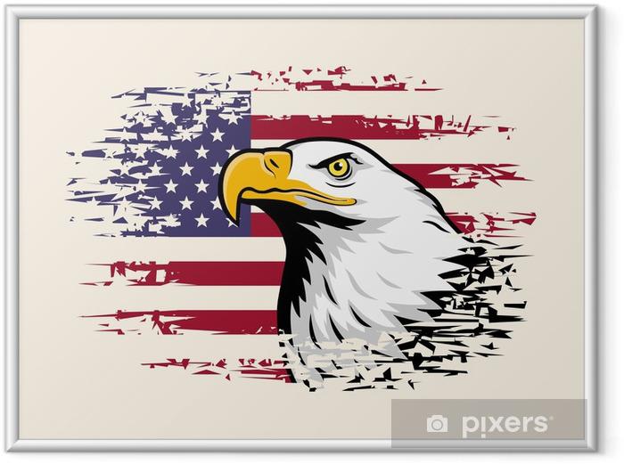 Poster i Ram Amerikansk örn mot USA flagga bakgrund - Teman