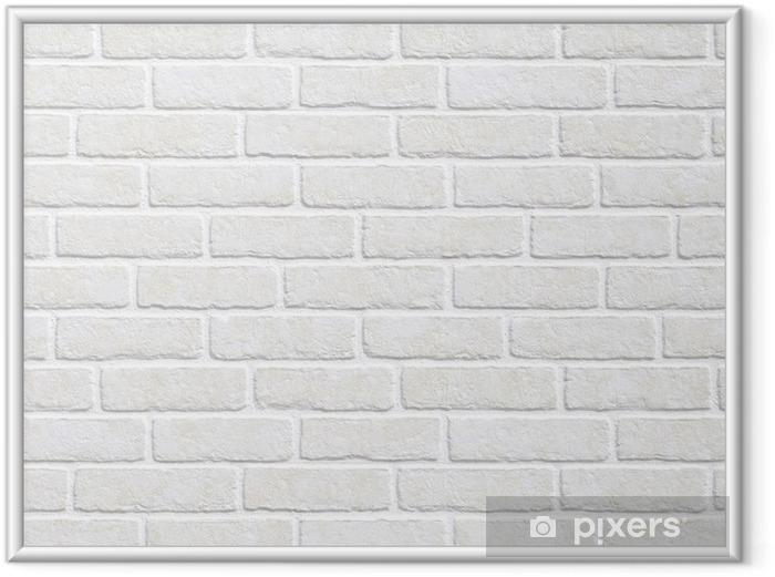 Póster Enmarcado Fondo de la pared de ladrillo blanco - Temas