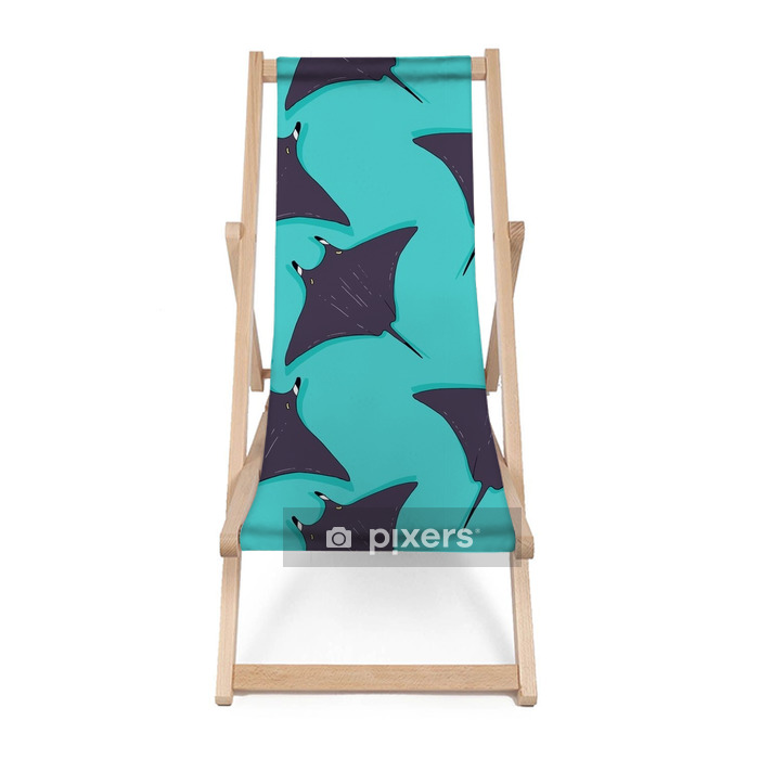 Vector seamless pattern with stingray, ray fish illustration. Animal in the wild - hand drawn sketch, marine life swimming animal wallpaper Beach chair - Animals
