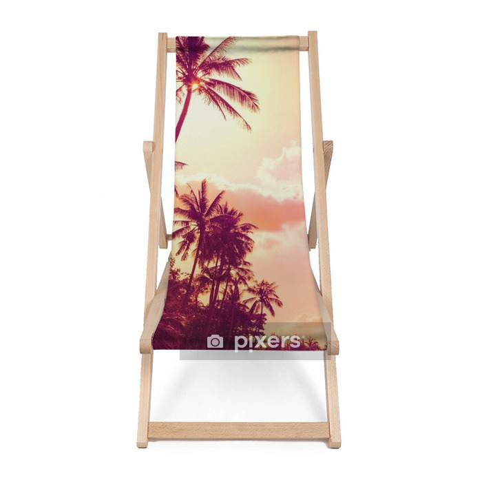 tropical palm trees at sunset Beach chair - Landscapes