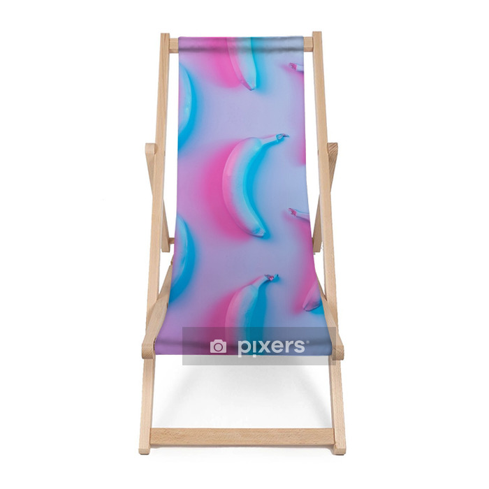Banana pattern in vibrant bold gradient holographic neon colors. Concept art. Minimal surrealism background. Beach chair - Graphic Resources