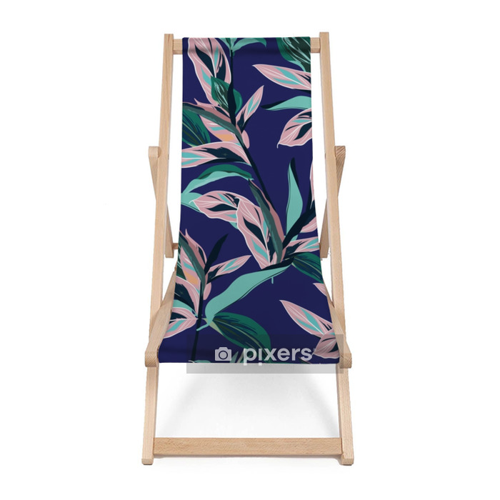 Fresh summer colorful Tropical leaves Seamless graphic design with amazing palms. Fashion, interior, wrapping, packaging suitable. Beach chair - Graphic Resources
