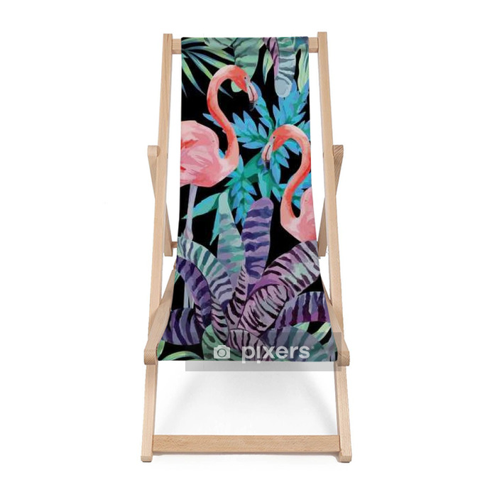 flamingo watercolor and exotic plants pattern Beach chair - Animals