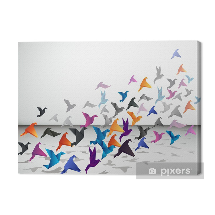 Indoor flight, Origami Birds start to fly in closed space. Premium prints - Styles