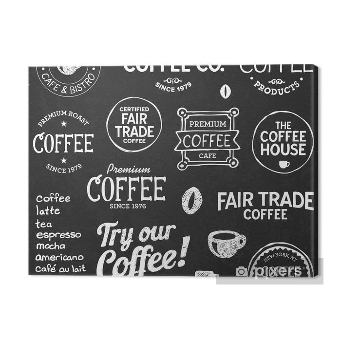 Coffee chalkboard text and symbols Premium prints - Cafe