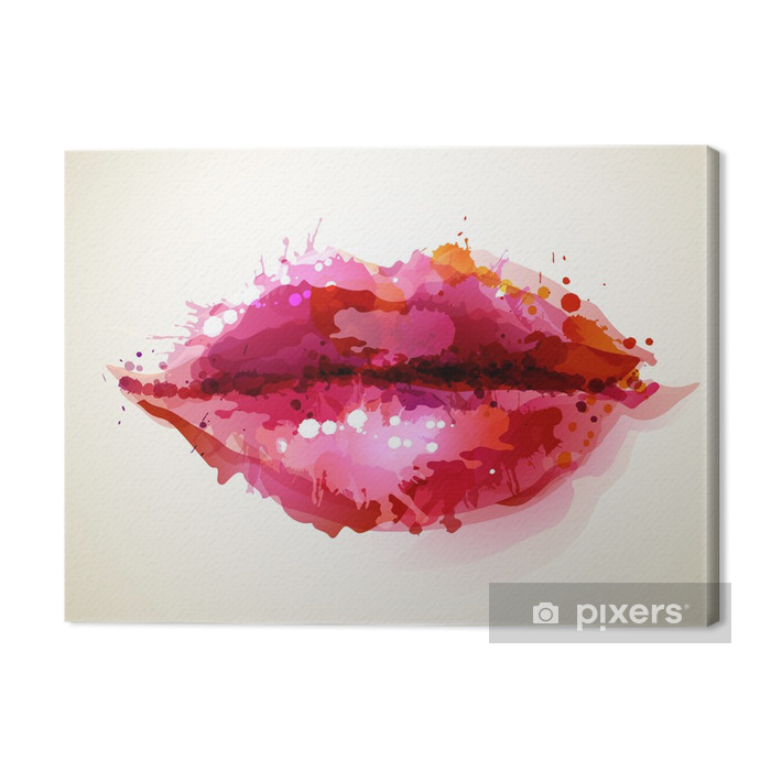 Beautiful womans lips formed by abstract blots Premium prints -