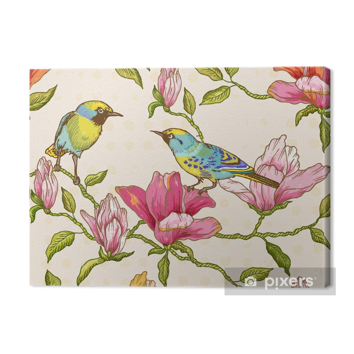 Vintage Seamless Background - Flowers and Birds Premium prints - Seasons