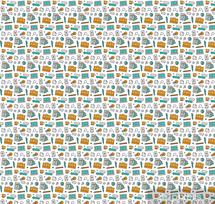Business elements seamless icons pattern Vinyl custom-made wallpaper - Graphic Resources