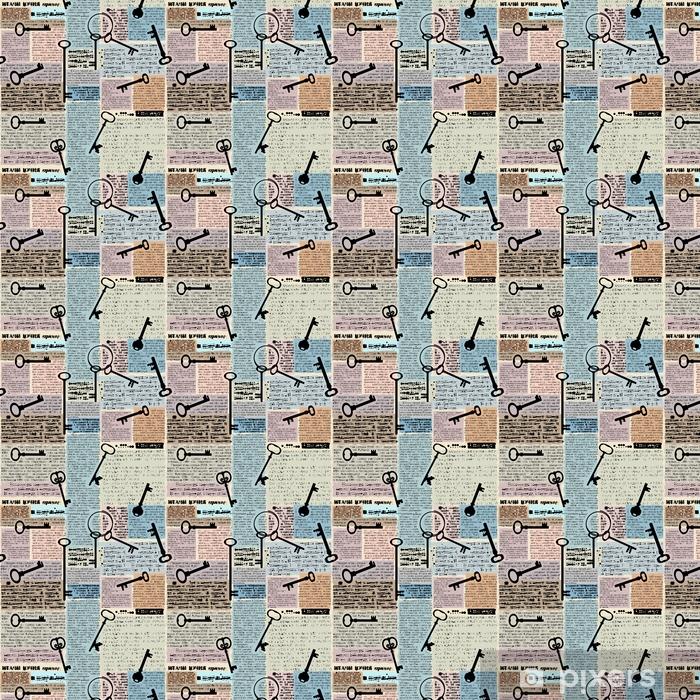 Papel pintado estándar a medida Imitación de periódico con llaves - Recursos gráficos