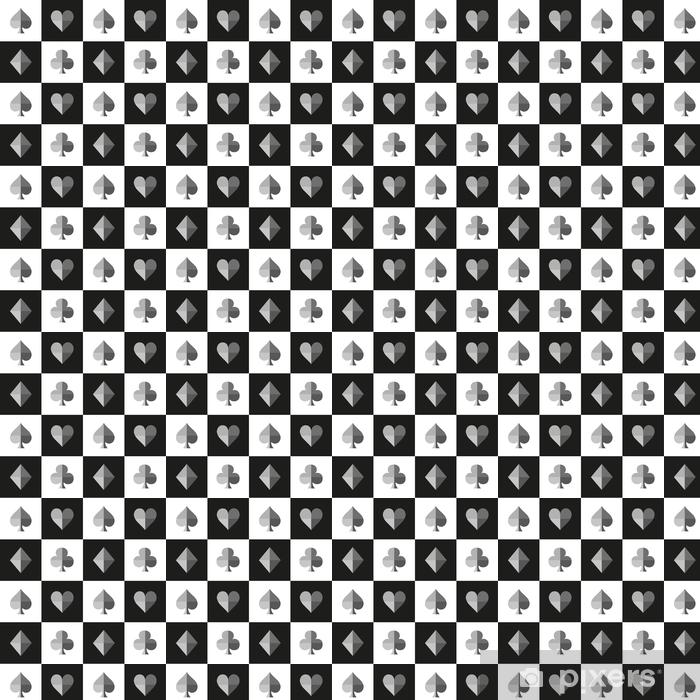 Papel pintado estándar a medida Tarjeta traje tablero de ajedrez negro patrón blanco ilustración vectorial - Recursos gráficos