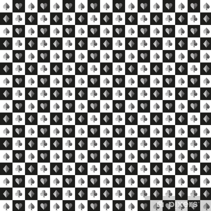 Card Suit Chess Board Black White Pattern Vector Illustration Vinyl Custom-made Wallpaper - Graphic Resources