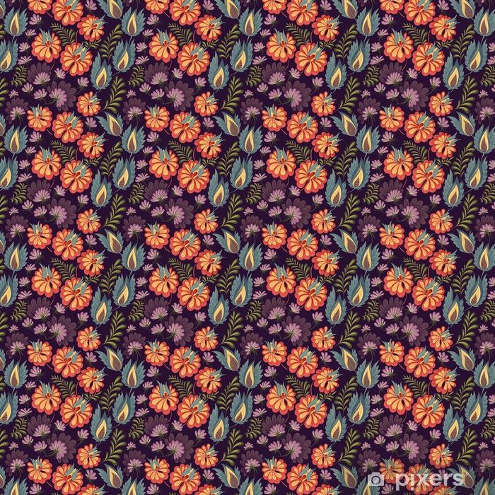 Vinyl behang, op maat gemaakt Bloemen naadloos patroon - Bloemen en Planten