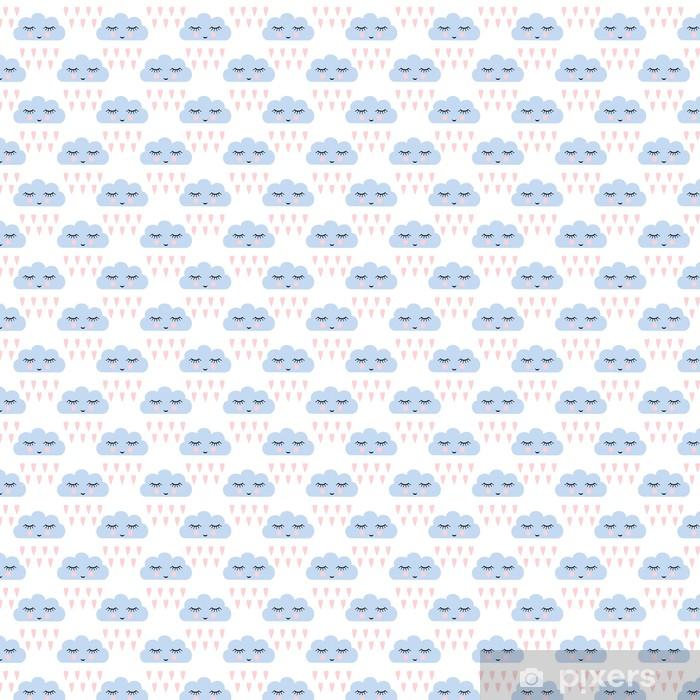 Carta da parati in vinile su misura Nuvole modello. Seamless pattern con sorridente nuvole a pelo e il cuore per le vacanze i bambini. Cute baby shower vector background. Bambino disegno stile nuvole di pioggia in illustrazione vettoriale. - Risorse Grafiche