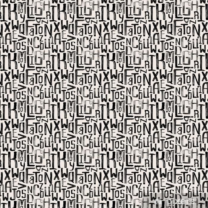 Zelfklevend behang, op maat gemaakt Naadloze vintage stijl patroon, ongelijke grunge letters van willekeurige - Grafische Bronnen