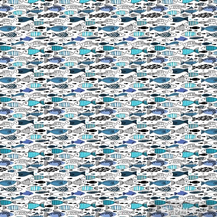 Vinyl behang, op maat gemaakt Onderwater naadloze patroon met vissen. Naadloos patroon kan worden gebruikt voor behang, web pagina-achtergronden - Dieren