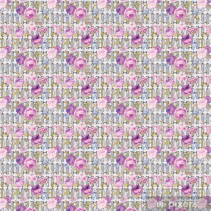 Spring Flowers Geometry Background - Seamless Floral Shabby Chic Vinyl custom-made wallpaper - Plants and Flowers