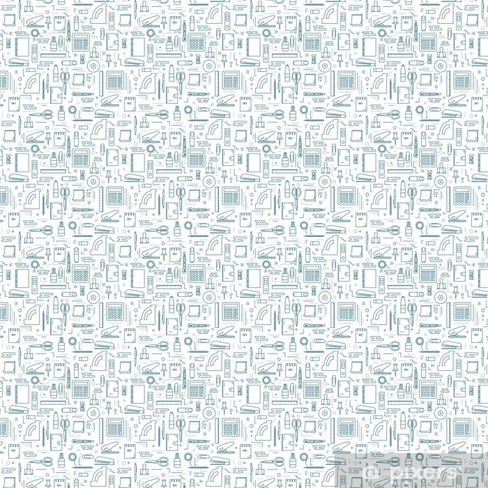 Papel pintado estándar a medida Patrones sin fisuras con diferentes productos de papelería y oficina. fondo plano repetido para diseño web y materiales imprimibles. - Negocios