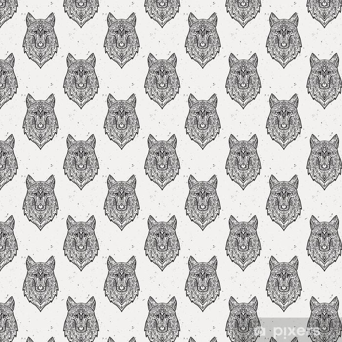 Carta da parati in vinile su misura Vector grunge in bianco e nero seamless con lupo stile tribale con ornamenti etnici. motivi indiani d'America. disegno Boho. - Animali