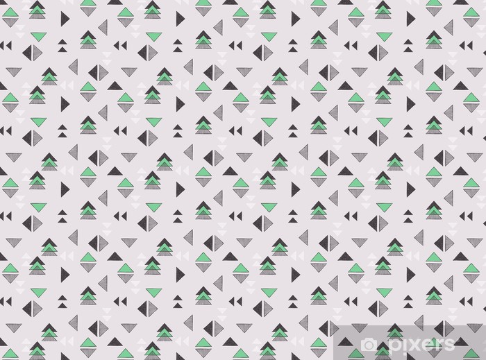Seamless hand-drawn triangles pattern. Self-adhesive custom-made wallpaper - Graphic Resources