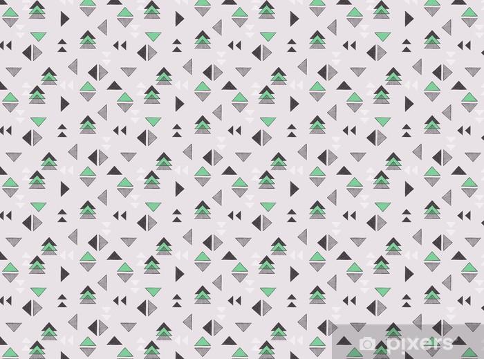 Zelfklevend behang, op maat gemaakt Naadloze hand getekende driehoeken patroon. - Grafische Bronnen