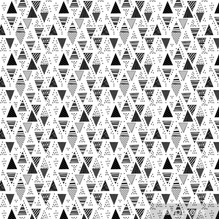 Vinyl behang, op maat gemaakt Naadloos patroon met decoratieve hand getekende driehoeken. - Grafische Bronnen