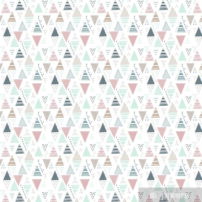 Papel pintado estándar a medida Patrón sin fisuras con triángulos decorativos hechos a mano. - Recursos gráficos