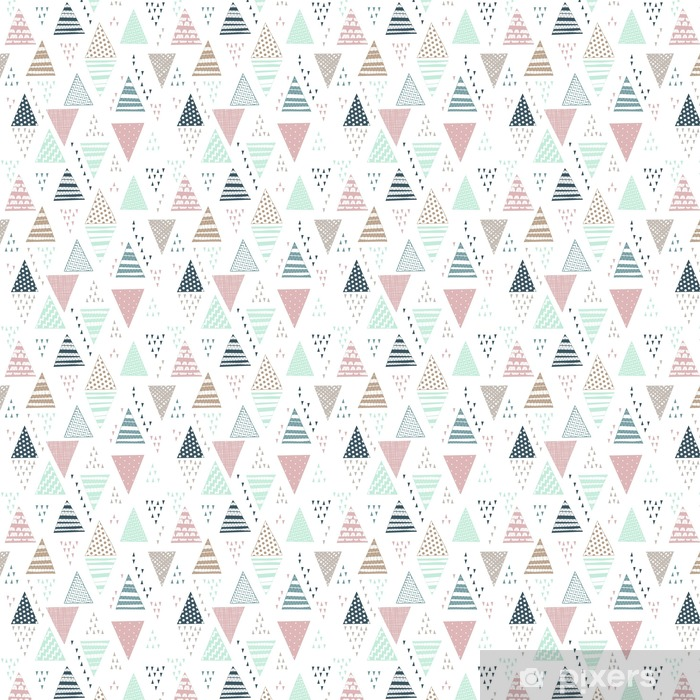 Seamless pattern with decorative hand-drawn triangles. Vinyl custom-made wallpaper - Graphic Resources