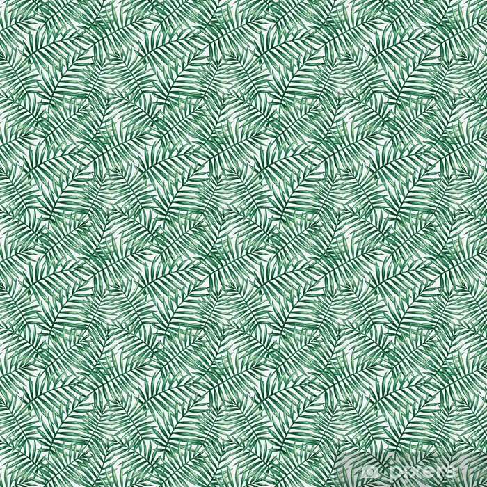 Måttanpassad vinyltapet Akvarell tropisk palm lämnar sömlöst mönster. vektor illustration. - Grafiska resurser