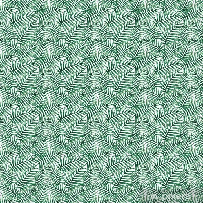 Zelfklevend behang, op maat gemaakt Aquarel tropische palm verlaat naadloze patroon. vectorillustratie - Grafische Bronnen