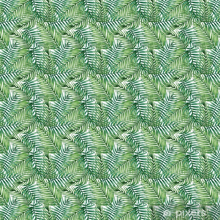 Vinyl behang, op maat gemaakt Watercolor tropical palm leaves seamless pattern. Vector illustration. - Achtergrond