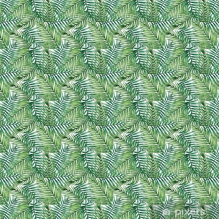 Vinyltapete nach Maß Watercolor tropical palm leaves seamless pattern. Vector illustration. - Hintergründe