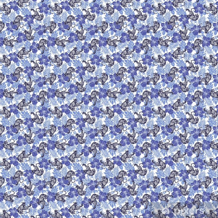 Zelfklevend behang, op maat gemaakt ハ イ ビ ス カ ス と 虎 の パ タ ー ン - Dieren